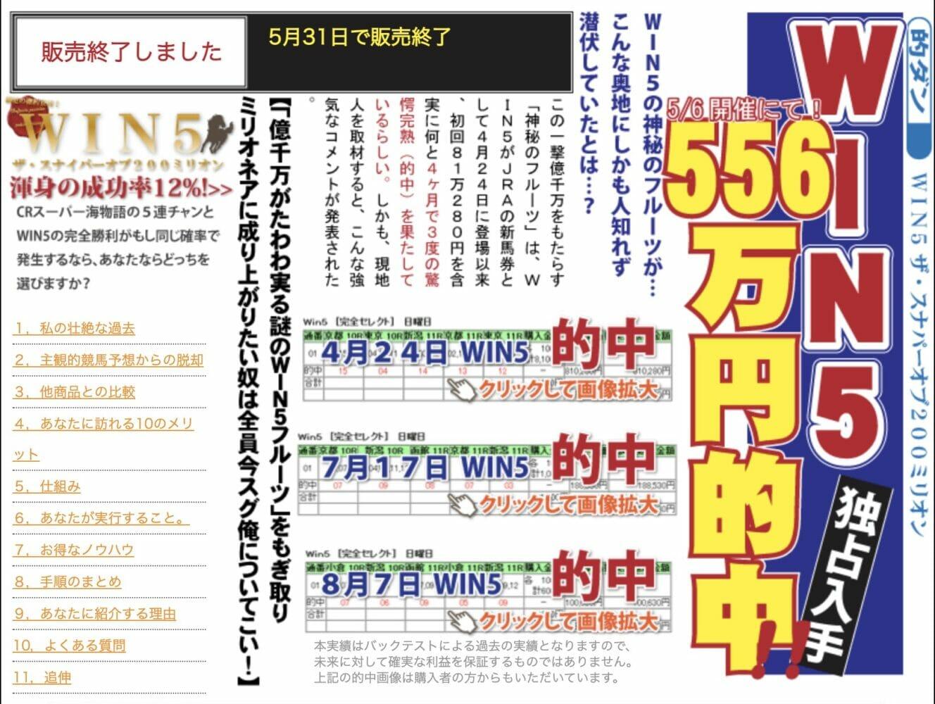 Win5ザ・スナイパー・オブ・200ミリオン(的中ダントツ化プロジェクトチーム)